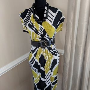 Bold Print Dress with Belt